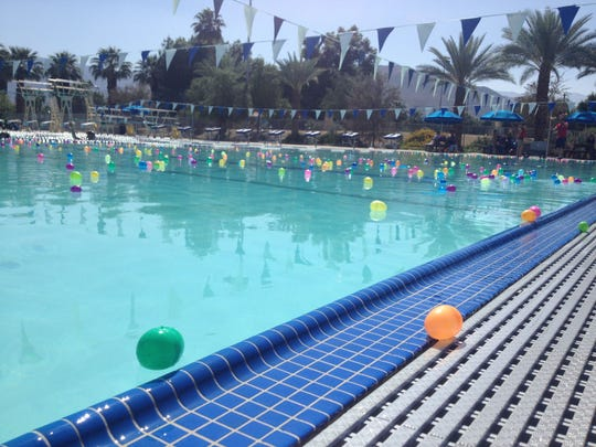 Hundreds of children and families flocked to the Palm Desert Aquatic Center Sunday for an Easter egg hunt in the water. By Victoria Pelham/Special to The Desert Sun.