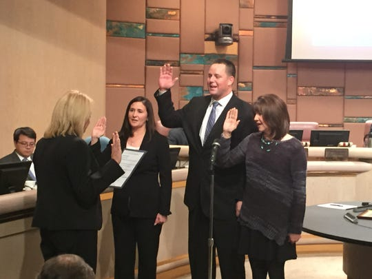Newly-elected Council members Lauren Kuby and David Schapira and re-elected Councilwoman Robin Arredondo-Savage at Thursday's swearing-in ceremony.