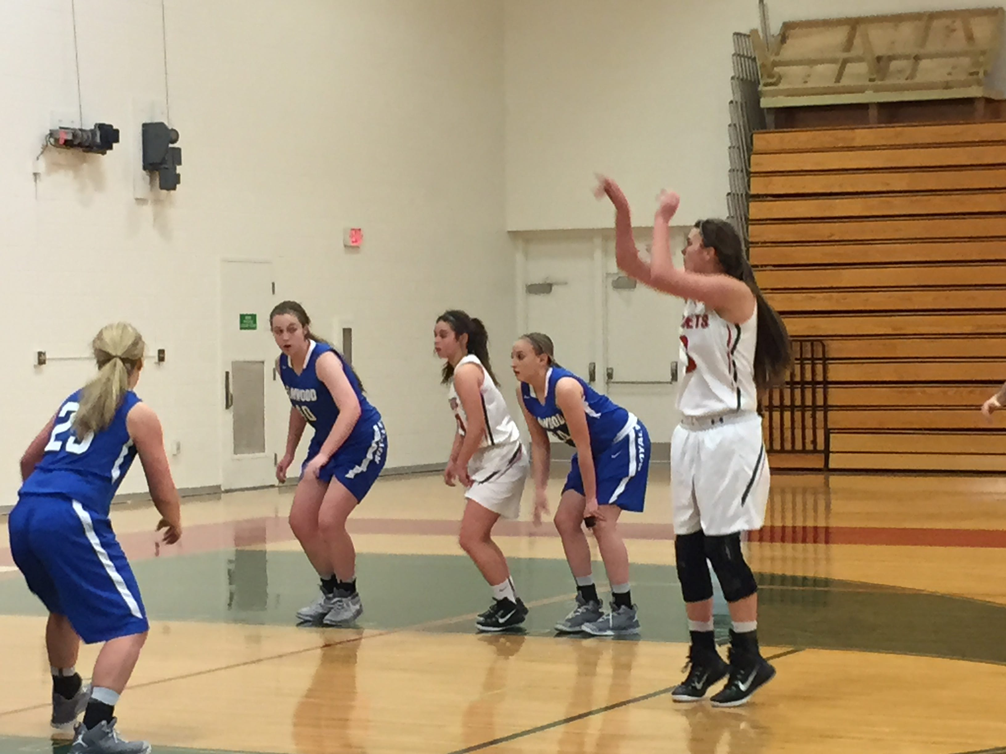 Andrea Cecil shoots a free throw Tuesday for her 37th point to surpass her own single-game program scoring record in Oak Harbor's victory over Elmwood.