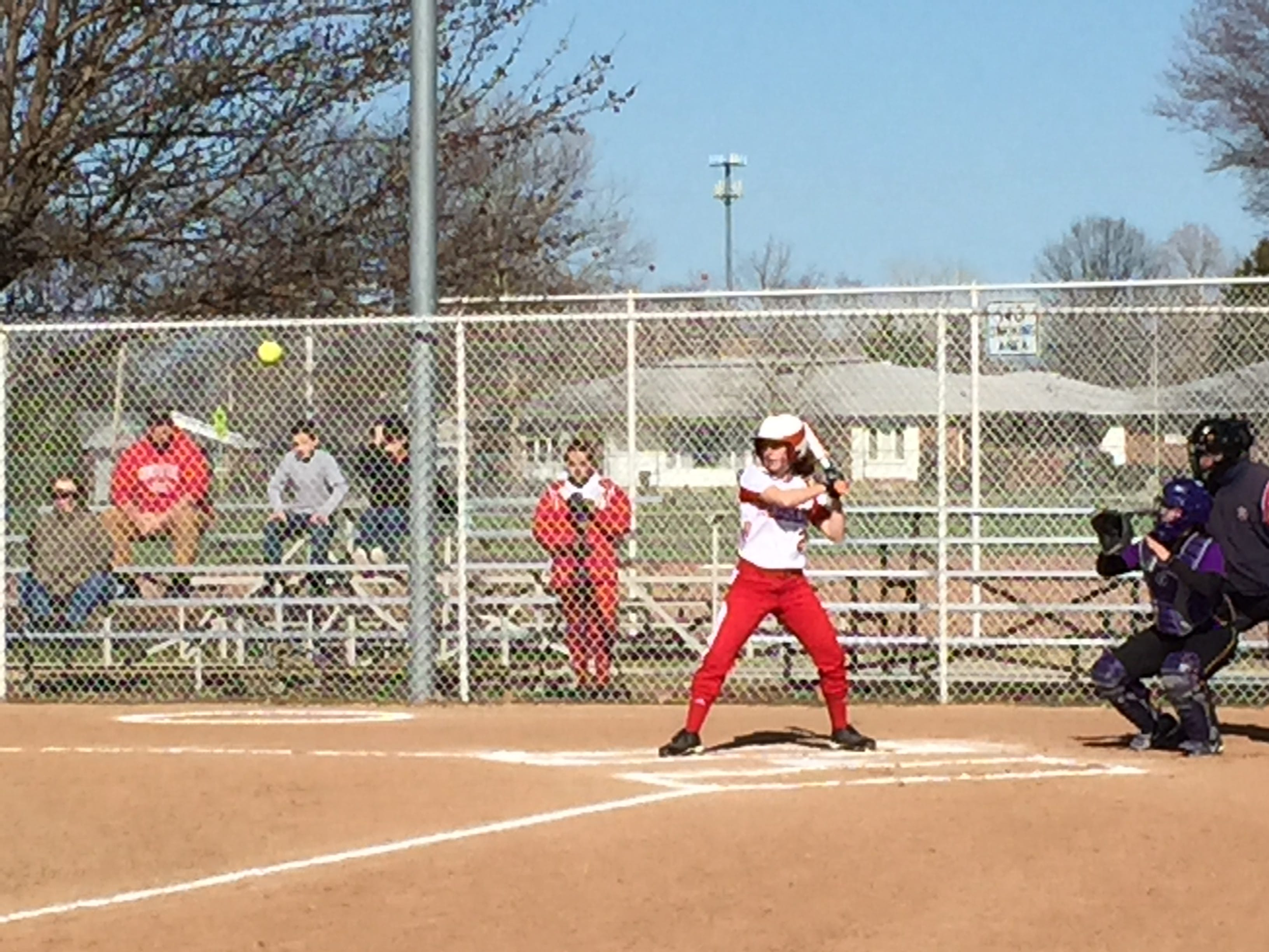 Port Clinton's Taylor Steyer waits on a pitch Friday. Steyer is one of three sisters in the varsity lineup for the Redskins.