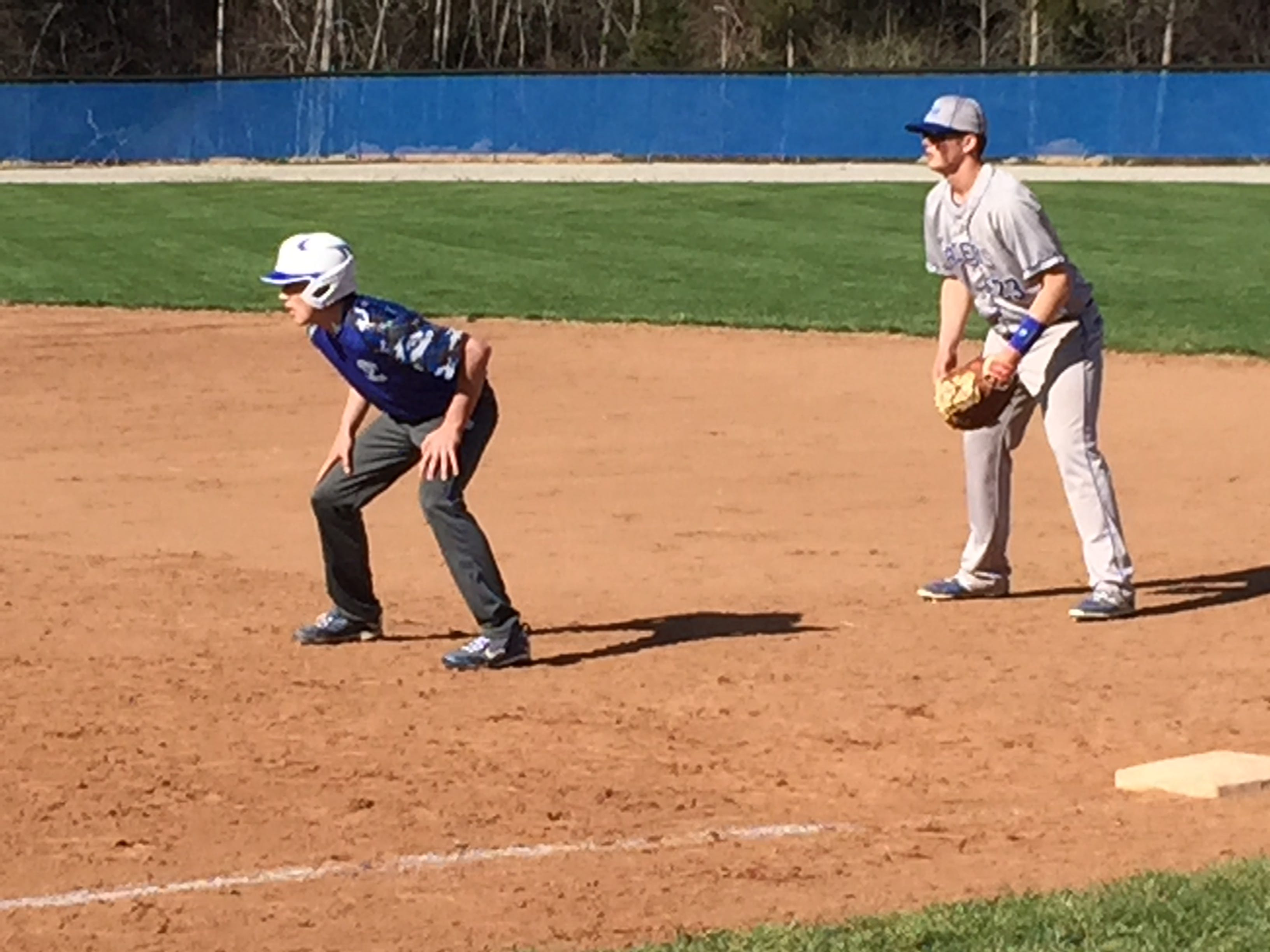 Danbury's Justin Tibbels takes his lead off first base Friday in a victory over Western Reserve.
