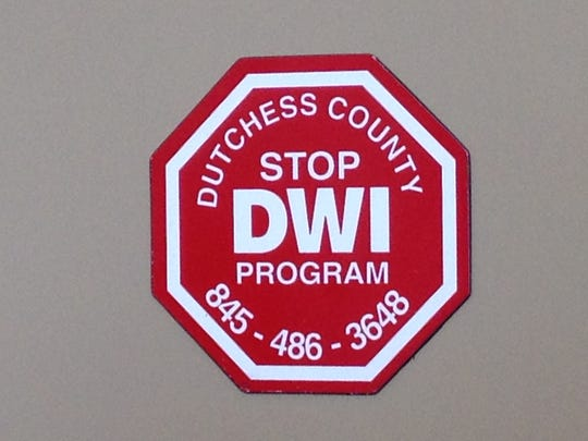 A Dutchess County STOP-DWI program magnet on a filing cabinet in coordinator William Johnson's office. STOP-DWI is located at 626 Dutchess Turnpike.