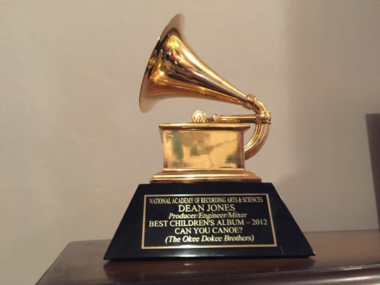 Archive photo of the Grammy won by Dean Jones of Rosendale.