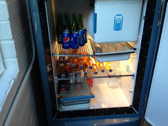 Inside the refrigerator at the Tesla lobbyists' Carson City headquarters.