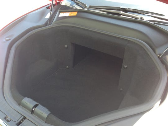 """The front end trunk, or """"frunk,"""" on the Tesla Model S."""