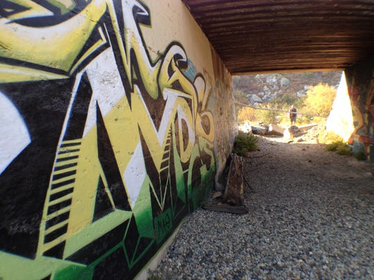 Graffiti in the underpass where the Lincoln Highway, America's first transcontinental automobile route, passes beneath the route of the Transcontinental Railroad. Both are part of guided history hikes scheduled for Oct. 4 and 5 near Donner Pass in Truckee, Calif.
