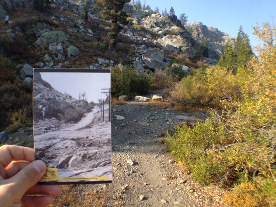 A remnant of the Lincoln Highway, America's first transcontinental automobile route which began construction in 1913, is still visible near Donner Pass at Truckee, Calif. The highway route is one highlight in the upcoming guided Donner Party Hike scheduled Oct. 4 and 5.