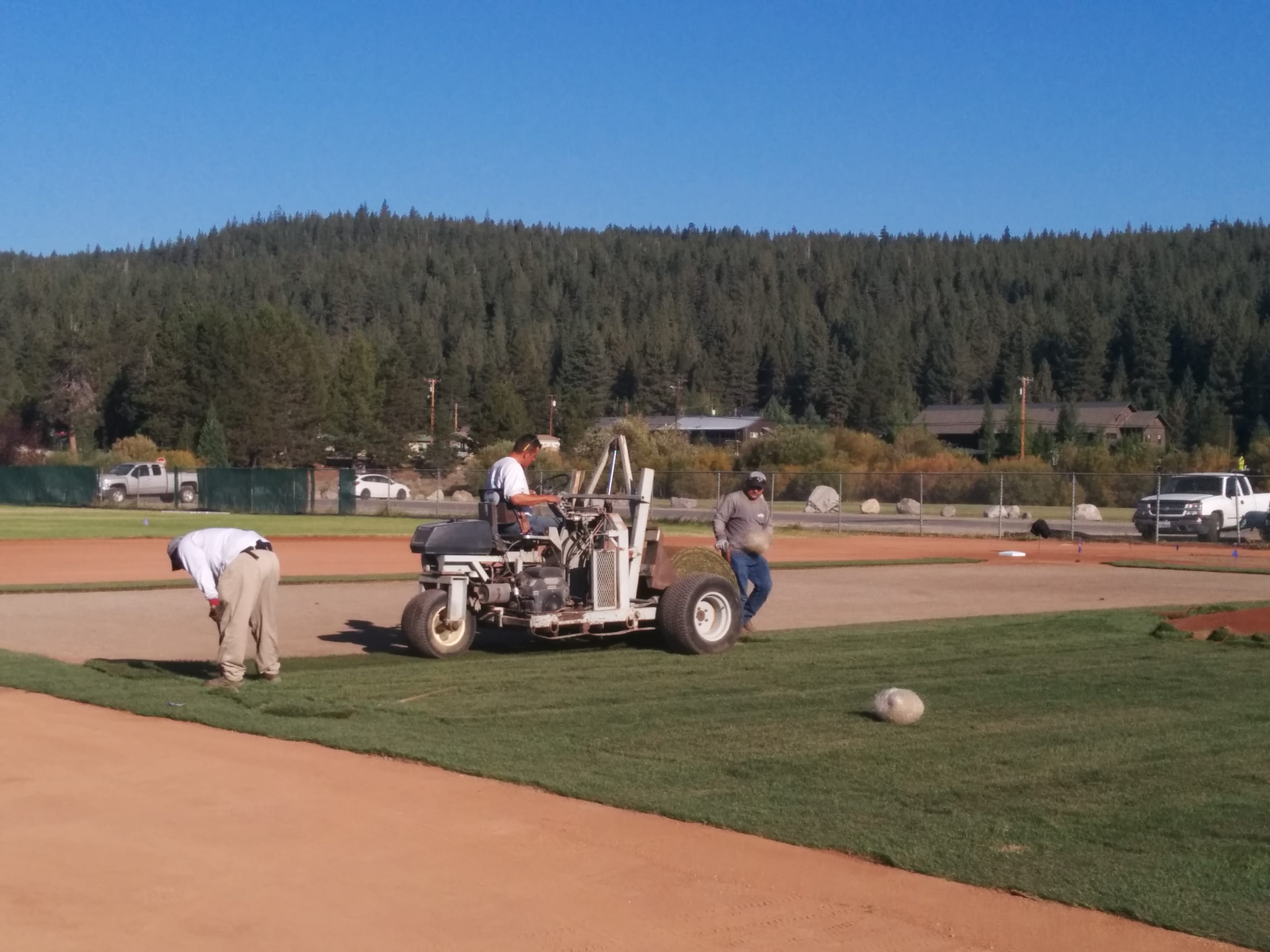Work being done on the Truckee baseball field.