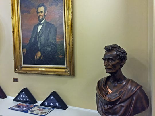 A potrait and bust of President Abraham Lincoln adorn the reception area of Governor Brian Sandoval's office at the Nevada Capitol. Lincoln was instrumental in Nevada's statehood.