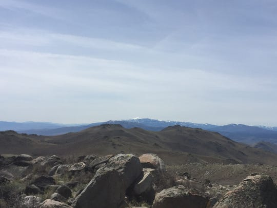Peavine Mountain and Mt. Rose are visible from the peak of Petersen Mountain, elevation 7,780 feet.