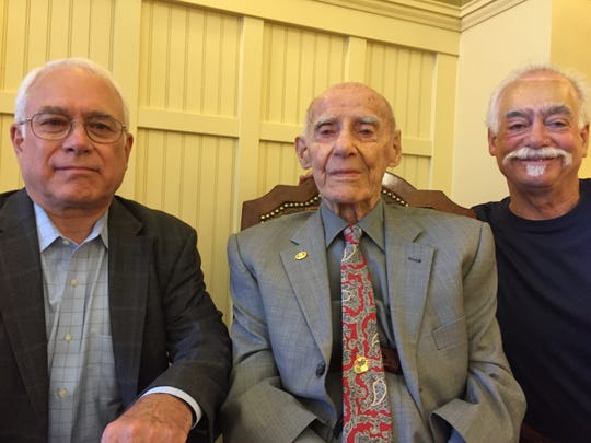 Oliver Aymar, center turned 100 years old on April 15, 2015. His son Edward is on the left and his son Robert is on the right.