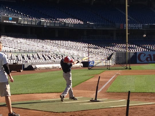 Casey Saucke takes a swing at the Pitch, Hit and Run qualifier at Yankee Stadium.