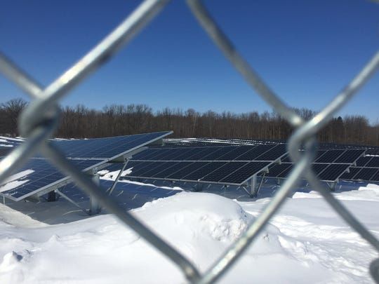 Part of the Rochester Institute of Technology's two megawatt solar energy farm, made up of nearly 6,200 solar panels in a field along Bailey Road, in Henrietta. The solar array is expected to be operational in April and provide about 3 percent of the campus' energy need.
