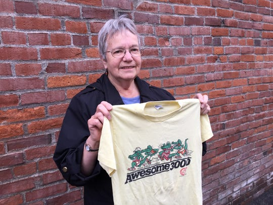 Carol Snyder of Salem still had the T-shirt her son wore in the 1985 Awesome 3000, and she donated it Wednesday, Feb. 4, to help Salem-Keizer Education Foundation complete its collection covering the 32-year history of the youth running event.