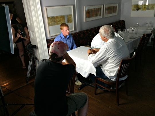 "From left to right: ""Interview, 7 p.m."" director Rob Waters, actor Thomas Cooksey and Matt Haley on the film's set in June. The 10-minute short film will premiere Friday at 7 p.m. at the Delaware Art Museum to open the 7th annual Festival of Shorts."