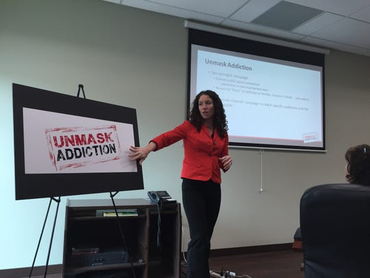 "Jenni Pastusak of a.s.a.p.r. integrated marketing presents about the newly-unveiled ""Unmask Addiction"" campaign at a Healthy Somerset meeting on Wednesday."