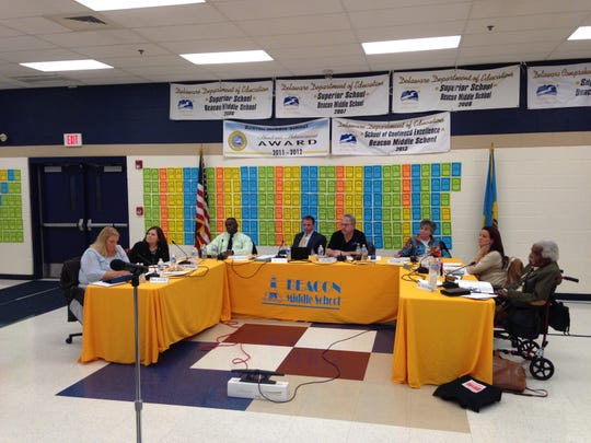 The Cape Henlopen school board meets at a recent meeting.