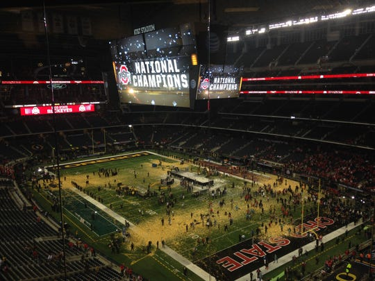 The aftermath at AT&T Stadium following Ohio State's