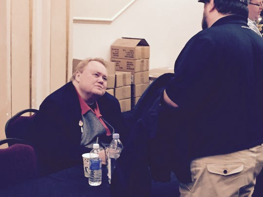 Fans waited in line to meet Louie Anderson after his Saturday show at the Paramount Theatre.