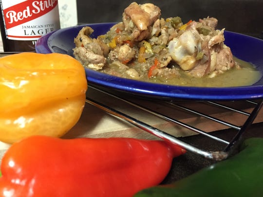 Jamaican jerk chicken made with sweet, jalapeno and