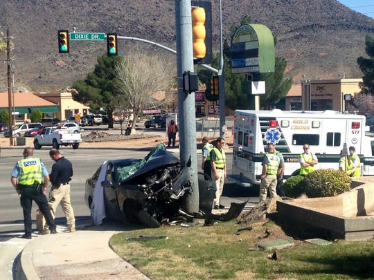 A woman was killed Sunday after reportedly driving her car into a traffic light pole at the intersection of Valley View Drive and Dixie Drive. Responding officers said they were investigating whether a medical issue or other impairment as a potential cause.