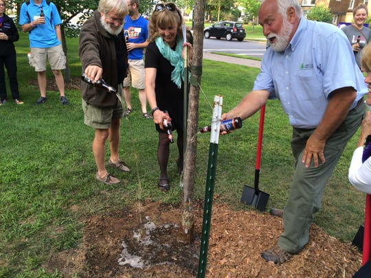 Former University of Wisconsin-Stevens Point professor Robert Miller, left, pours a bottle of Point Beer on a tree dedicated to him on campus Tuesday along with Christine Thomas, dean of the College of Natural Resources at UWSP, and Ken Ottman, president and chief executive officer of First Choice Tree Care.