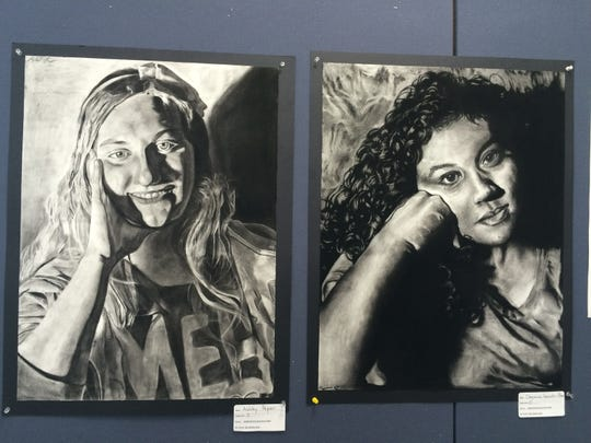 Self-portraits by Stevens Point Area Senior High students Ashley Peper and Cheyenna Gonzalez-Pilsner are on display as part of Youth Art Month at the Portage County Public Library in Stevens Point.