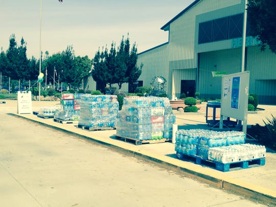 Bottled water donated during the Aggie the Cow collection drive.