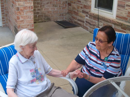 Chaplain Carol Mancl (right) visits with Sister Anita Hirt, Resident at Bell.JPG