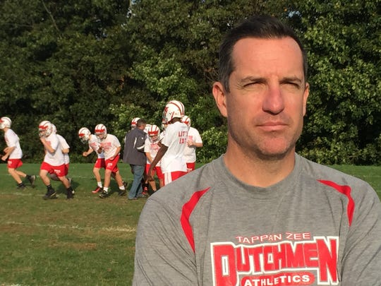 Tappan Zee High School coach Andy DiDomenico is seen at Thursday's walk-through before Friday's homecoming game. See a video on his approach to coaching at lohud.com.