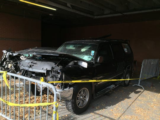 The SUV driven by off-duty White Plains Firefighter Erik Refkin in Monday's fatal.