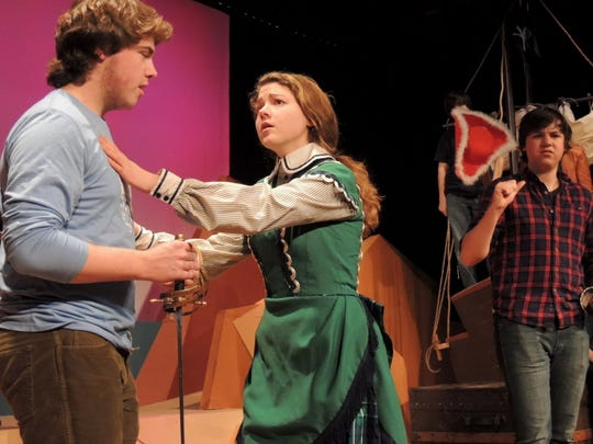 """Haldane junior Leandra Rice plays Ruth and senior Peter Close plays Frederick in the Gilbert & Sullivan operetta """"Pirates of Penzance,"""" with performances at 7 p.m., March 13, at 2 and 7 p.m., March 14, and at 2 p.m., March 15. At right is sophomore Ronan Wood-Gallagher, who plays the Pirate King."""