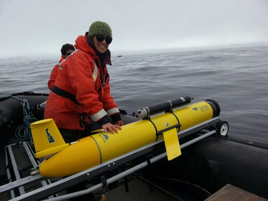 ABOVE: Scientists find links in the food web like this marine zooplankton. BELOW: Megan Cimino prepares to launch a glider in Antarctica.