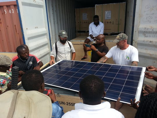 Solar panels are installed in Annobón in Africa. A Delaware company's technology is helping bring electricity to the Equatorial Guinea province.