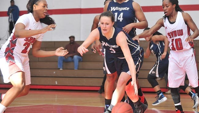 Tuscola alum Shelby Tricoli (3) plays college basketball for Wingate.