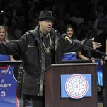 Former Sixers guard Allen Iverson reacts during his jersey number retirement ceremony in 2014.