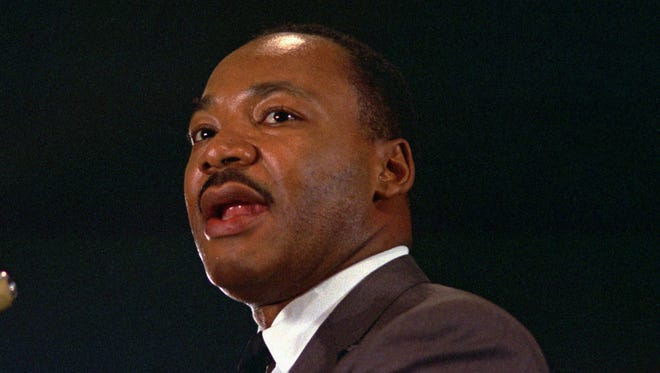 The Rev. Dr. Martin Luther King Jr. speaks April 15,1967, at a peace rally in New York City.