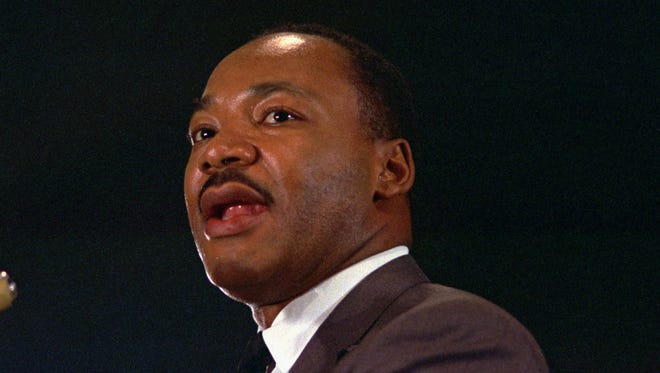 The Rev. Dr. Martin Luther King Jr. speaks at a peace rally in New York City in 1967.