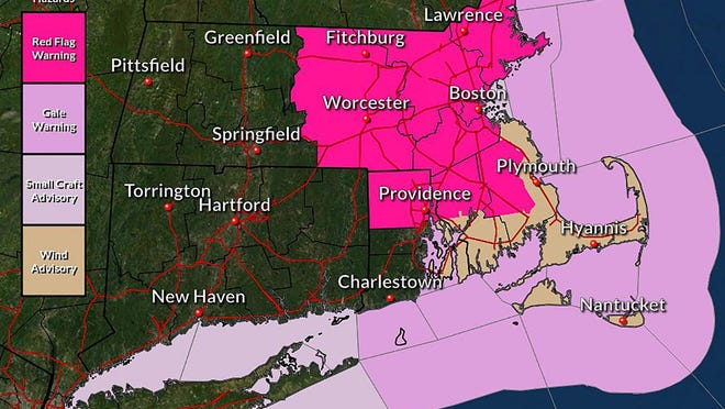 Red Flag Warning across eastern Massachusetts and northern Rhode Island.