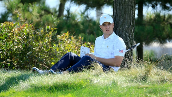 Jordan Spieth waits near the No. 11 tee during his opening round.