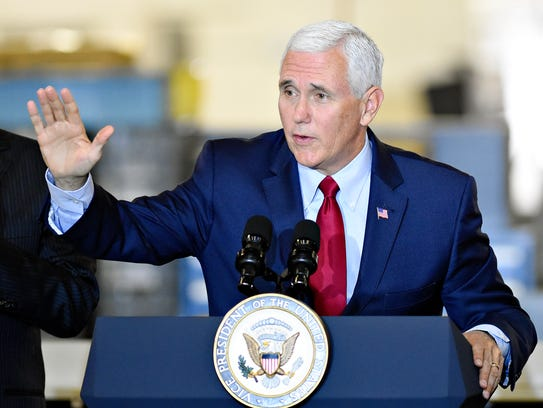 U.S. Vice President Mike Pence speaks during a visit