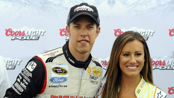 Brad Keselowski (2) after winning the pole during qualifying for the Quaker State 400 at Kentucky Speedway.
