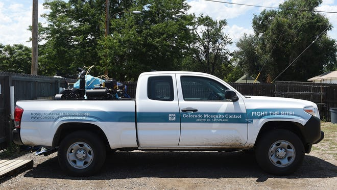 A sprayer truck at the Colorado Mosquito Control Northern Front Range Office in Loveland on Monday, July 25, 2016.