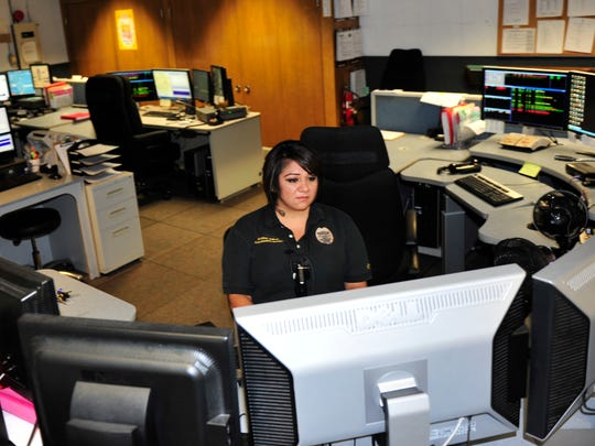 Senior Communications Operator Monica Dukes works the call center for Visalia police, fire and medical calls. Dispatch receives about 800 calls a day.