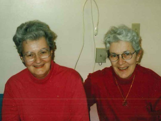 Mary Keane in the nursing home with her sister Helen Minihan.
