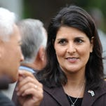 Gov. Nikki Haley speaks June 6, 2012, during a news conference outside the State House in Columbia, S.C.