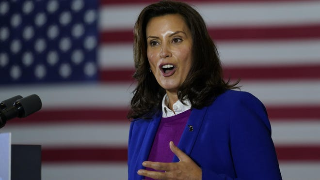 Michigan Governor Gretchen Whitmer speaks at Beech Woods Recreation Center, in Southfield, Friday, Oct. 16.