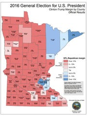 A county-by-county comparison of Hillary Clinton and Donald Trump votes in Minnesota's 2016 election.