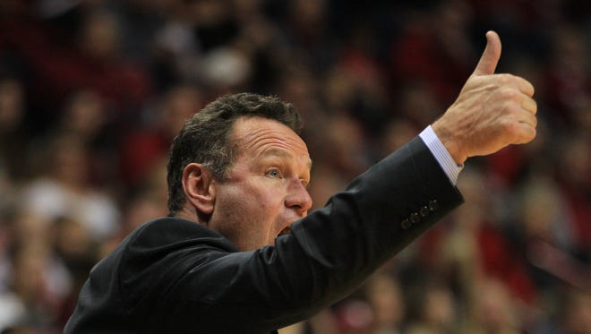 Dec 13, 2014: Grand Canyon Antelopes head coach Dan Majerle reacts during the second half against the Indiana Hoosiers at Assembly Hall. Indiana defeated Grand Canyon 94-66.