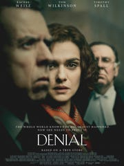 "Movie poster for ""Denial"" based on a book."